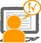 Illustration: Nutzer blickt auf Bildschirm - Fragezeichen?